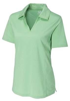 Cutter & Buck Womens Sea Green Sm Drytec Medina Tonal Stripes Short Sleeve Polo