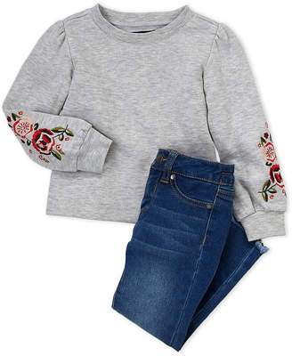 Joe's Jeans Toddler Girls) Two-Piece Embroidered Puff Sleeve Pullover & Jeans Set