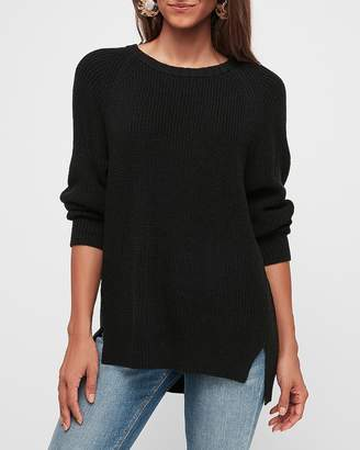 Express Ribbed Oversized Crew Neck Tunic Sweater