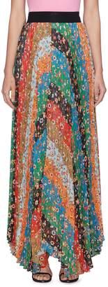 Alice + Olivia 'Katz' floral stripe pleated maxi skirt