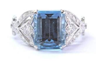 "Tiffany & Co. Legacy Collection"" Platinum with 3.44ct Aquamarine & 0.48ct Diamond Ring Size 6"