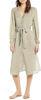 Moon River Stripe Belted Midi Shirtdress
