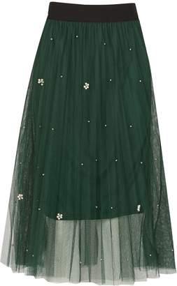 TENKI Beads Insert Pleated Net Midi Skirt