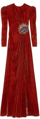 UFO embroidered velvet gown
