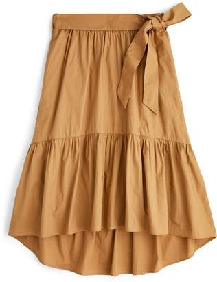 J.Crew Belted Pull-On Cotton Poplin Midi Skirt