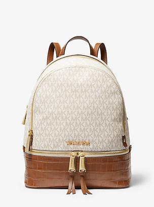 Michael Kors Rhea Medium Logo And Leather Backpack