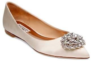 Badgley Mischka Davis Embellished Satin Pointed Toe Flats