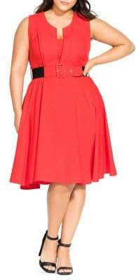 City Chic Plus Veronica Belted Fit-&-Flare Dress