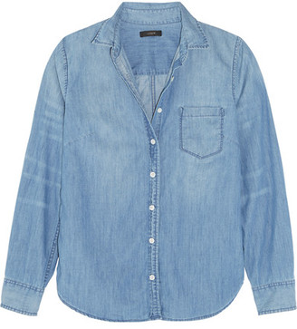 J.Crew - Cotton-chambray Shirt - Light blue $80 thestylecure.com