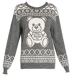 Moschino Women's Intarsia Bear Crewneck Sweater