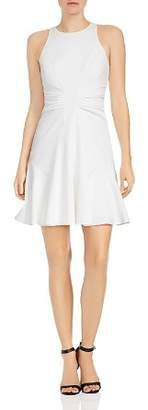 Halston Ruched Crepe A-line Mini Dress