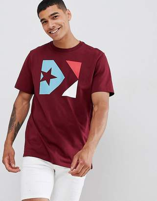 Converse Box Logo T-Shirt In Burgundy 10007272-A04