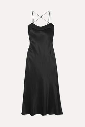 Maison Margiela Silk-satin Midi Dress - Black