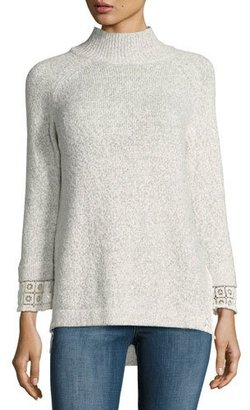 French Connection Lola Funnel-Neck Lace-Trim Sweater $138 thestylecure.com
