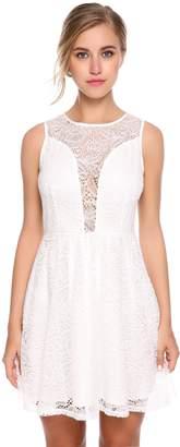 Zeagoo Women¡ ̄s Women Round Neck Sleeveless Pleated Lace Slim Dress