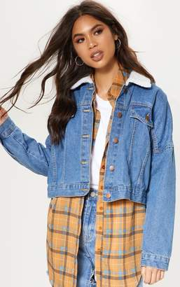PrettyLittleThing Mid Wash Borg Collar Denim Jacket