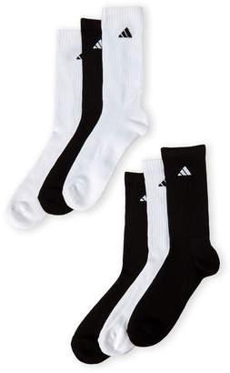 adidas 6-Pack Cushioned Moisture Wicking Crew Socks