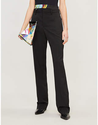 Maison Margiela Contrasting cutout-waist wool-blend trousers