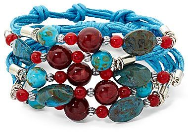 JCPenney Blue & Red Bead 5-Row Rope Bracelet