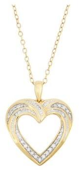 Forever New 18K Gold Over Sterling Silver 0.20 cttw Diamond Heart Pendant