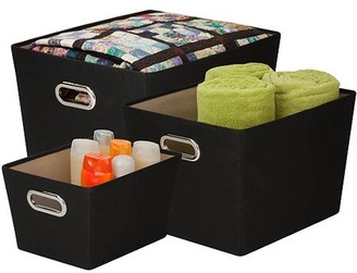 Honey-Can-Do Decorative Storage Bins with Handles, Multicolor (Set of 3)