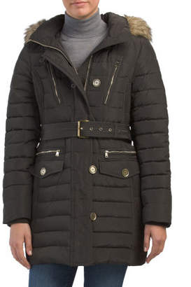 Belted Down Coat With Faux Fur Hood