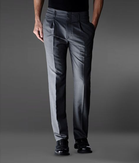 Emporio Armani Baggy Pants In Pinstripe Wool And Silk