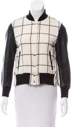 Sacai Luck Leather-Paneled Wool Jacket