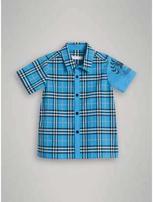 Burberry Short-sleeve Archive Logo Detail Check Cotton Shirt , Size: 12Y, Blue