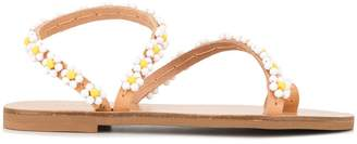 Elina Linardaki daisy-embellished sandals