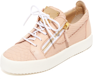 Giuseppe Zanotti Embossed Low Top Sneakers $675 thestylecure.com