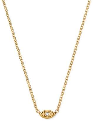 "Chicco Zoë 14K Yellow Gold Itty Bitty Diamond Evil Eye Necklace, 16"""