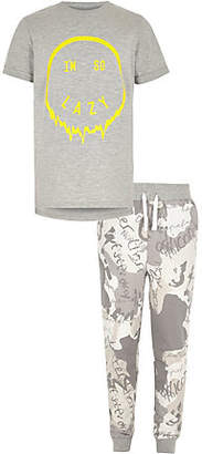 River Island Boys grey 'I'm so lazy' pajama set