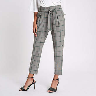 River Island Green check tapered pants