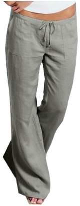 Natsuki Women Pants Linen Drawstring Elastic Waist Flare Wide Leg Loose Trousers XL