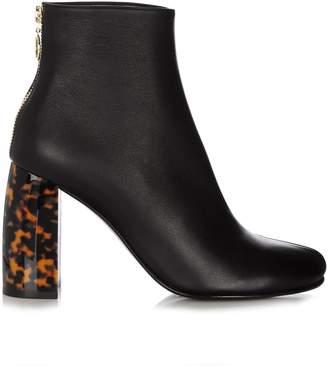 Stella McCartney Tortoiseshell block-heel faux-leather ankle boots