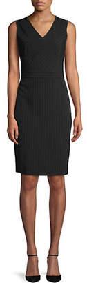 Kasper SUITS Pinstripe V-Neck Sheath Dress