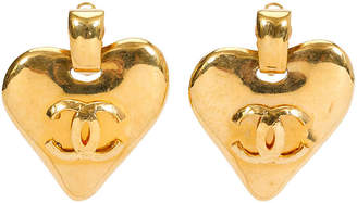 One Kings Lane Vintage Chanel Heart Door Knocker Earrings - 1993 - Vintage Lux