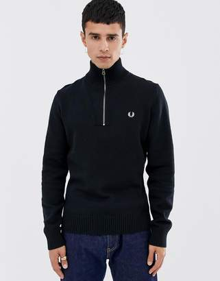 Fred Perry back logo ribbed half zip knitted sweater in black