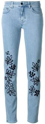 Victoria Beckham Victoria leaves embroidery skinny jeans