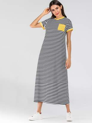 Shein Pocket Patched Striped Ringer Tee Dress
