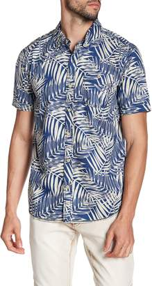 X-Ray Leaf Print Short Sleeve Slim Fit Shirt