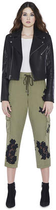 Alice + Olivia Anders High Waist Embroidered Loose Cargo Pant