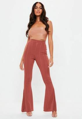 Missguided Rust Bandage Flare Trousers