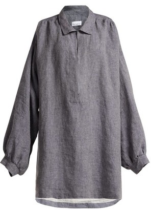 Raey Denim Linen Smock Dress - Womens - Indigo