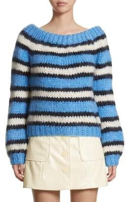 Ganni Juilliard Stripe Mohair & Wool Sweater