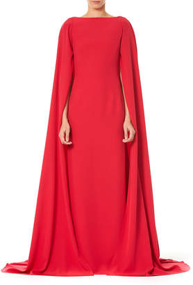 Carolina Herrera Bateau-Neck Column Cape Gown
