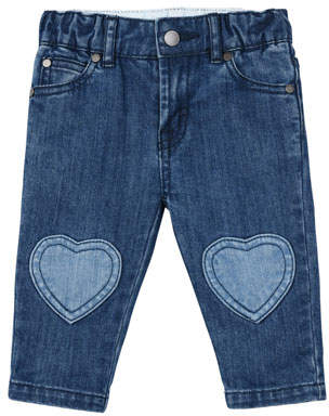 Stella McCartney Denim Jeans w/ Heart Knee Patches, Size 12-36 Months