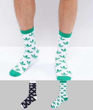 adidas 2 Pack Trefoil Print Crew Socks In Green CE5709