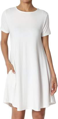 TheMogan Women's Crew Neck Short Sleeve Draped Jersey Pocket Tunic Dress L